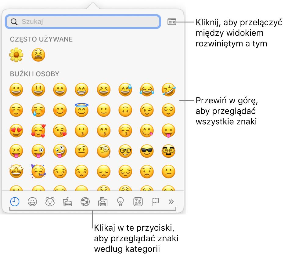 Pole podręczne Znaki specjalne zawierające emotikony. Na dole znajdują się przyciski różnych typów symboli oraz objaśnienie wskazujące przycisk pokazujący pełne okno znaków.