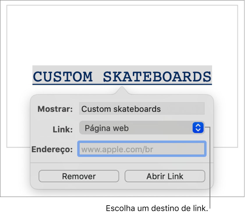 Controles do editor de links com o campo Exibir, o menu local Link (definido como Página web) e o campo Link. Os botões Remover e Abrir Link estão na parte inferior dos controles.