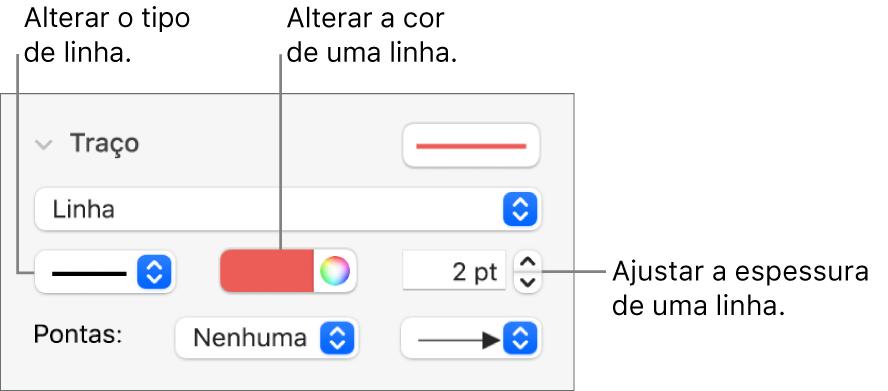 Controlos de traço para definir pontos finais, a espessura da linha e a cor.