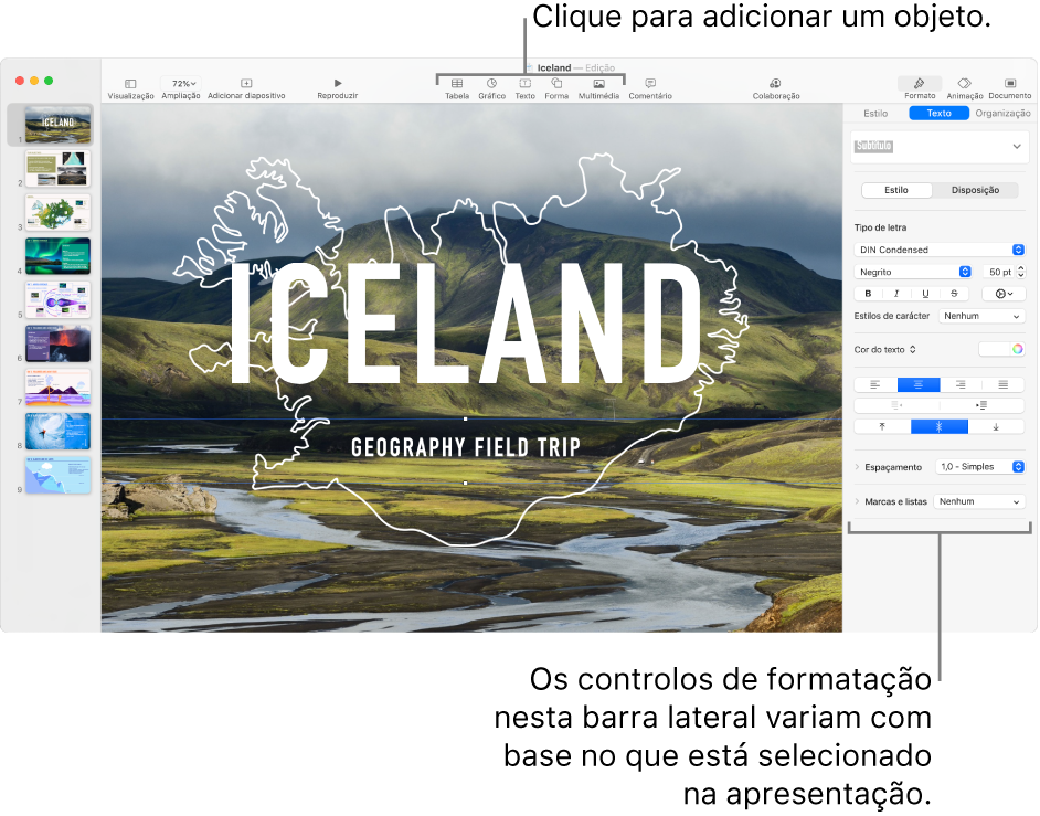 Os botões do Keynote na barra de ferramentas para adicionar objetos e abrir a barra lateral.