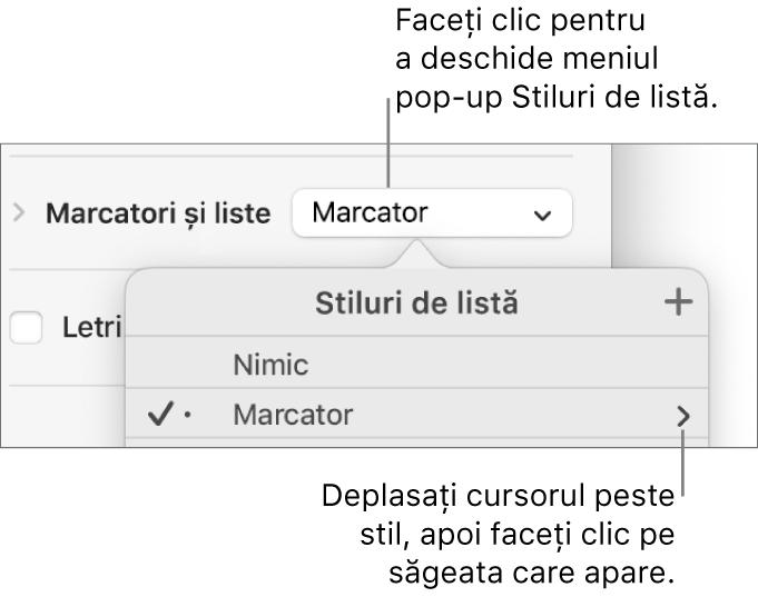 Meniul pop-up Stiluri de listă cu un stil selectat și o săgeată în extremitatea dreaptă.