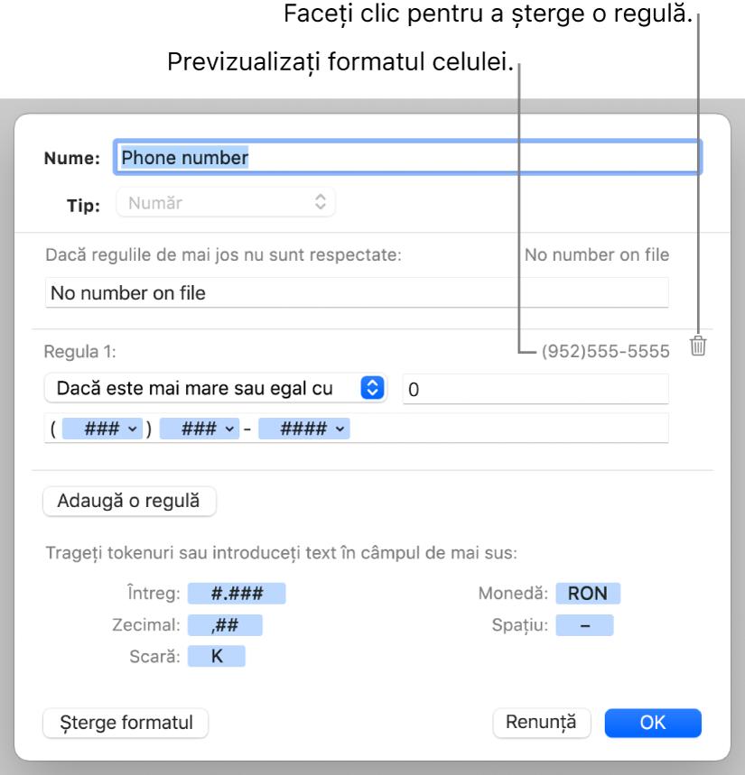 Format numeric personalizat de celulă cu reguli.