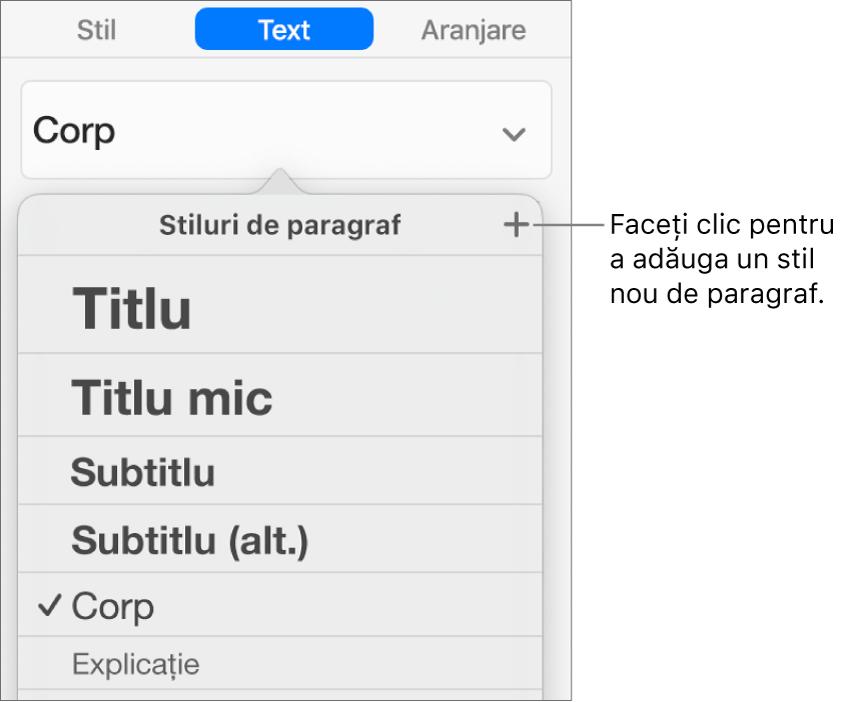 Meniul Stiluri de paragraf cu explicație la butonul Stil nou.