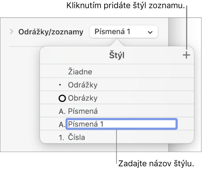Vyskakovacie menu Štýly zoznamu stlačidlom Pridať vpravom hornom rohu anázvom vzorového štýlu soznačeným textom.