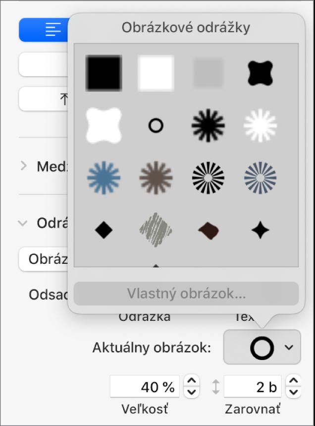 Vyskakovacie menu Obrázkové odrážky.
