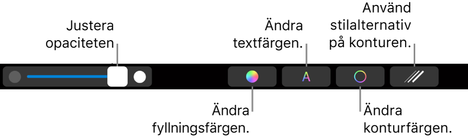TouchBar på MacBook Pro med reglage för att justera en forms genomskinlighet, ändra fyllningsfärg, ändra textfärg, ändra konturfärg och ändra konturens utseende.