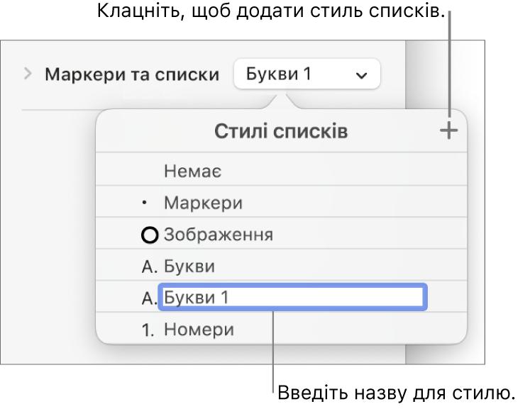 Спливне меню «Стилі списків» із кнопкою «Додати» у верхньому правому куті й зразок назви стилю з виділеним текстом.