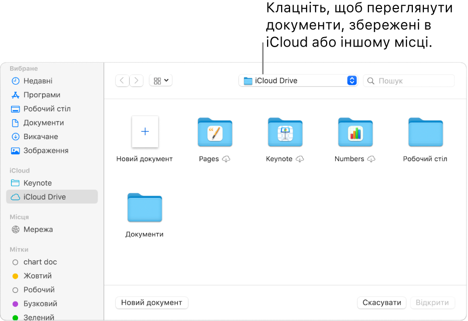 Діалогове вікно «Відкрити» з відкритою лівою бічною панеллю та вибраною іконкою iCloud Drive у спливному меню вгорі. У діалоговому вікні біля кнопки «Новий документ» також відображено папки Keynote, Numbers і Pages.