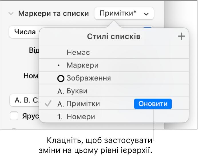 Спливне меню «Стилі списків» із кнопкою «Оновити» поруч із назвою нового стилю.