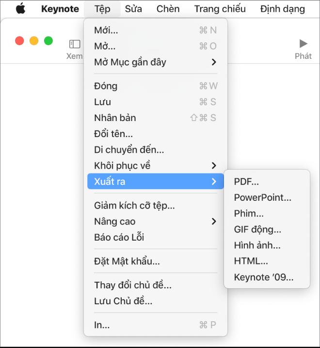 Menu Tệp mở với Xuất ra được chọn và menu con đang hiển thị các tùy chọn xuất cho PDF, PowerPoint, Phim, HTML, Hình ảnh và Keynote '09.