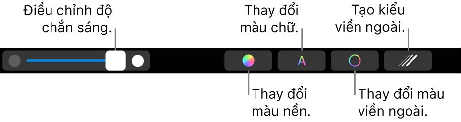Touch Bar trên MacBook Pro với các điều khiển để điều chỉnh độ mờ của hình, thay đổi màu nền, thay đổi màu văn bản, thay đổi màu đường viền và tạo kiểu cho đường viền.