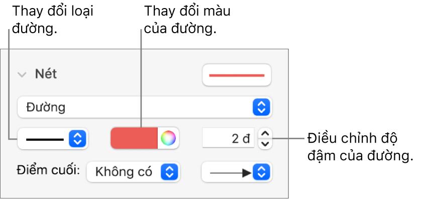 Các điều khiển nét để đặt điểm cuối, độ đậm của đường và màu.