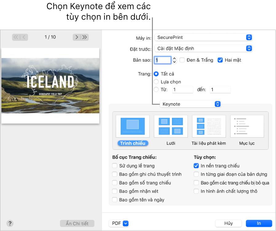 Hộp thoại In với Keynote được chọn trong menu bật lên bên dưới Pages. Bên dưới là bố cục in cho Trang chiếu, Lưới, Tài liệu phát kèm và Đề cương với Trang chiếu được chọn. Bên dưới bố cục là hộp kiểm để hiển thị lề, bao gồm ghi chú thuyết trình, in hình ảnh chất lượng thô và các tùy chọn khác.