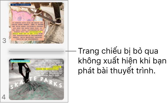 Trình điều hướng trang chiếu với trang chiếu bị bỏ qua đang hiển thị dưới dạng một đường ngang.
