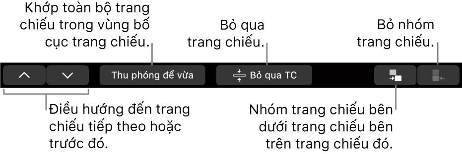 Touch Bar trên MacBook Pro với các điều khiển để điều hướng tới trang chiếu tiếp theo hoặc trước đó, khớp trang chiếu trong vùng bố cục trang chiếu, bỏ qua trang chiếu và nhóm hoặc hủy nhóm trang chiếu.