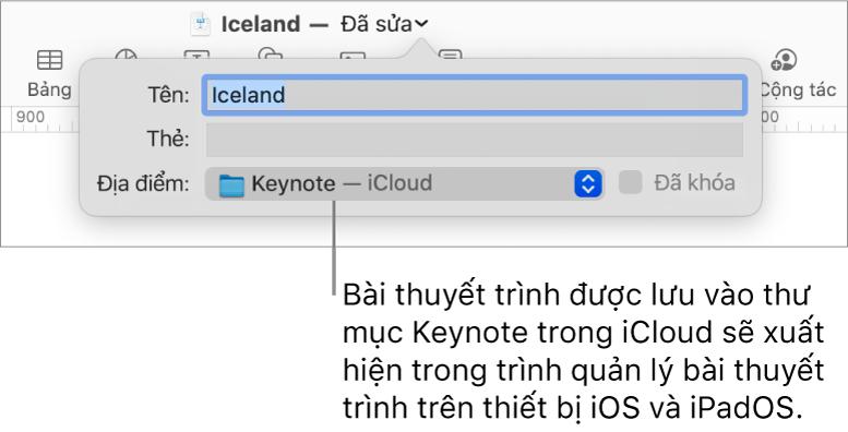 Hộp thoại Lưu cho bài thuyết trình với Keynote – iCloud trong menu bật lên Vị trí.
