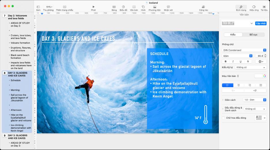 Chế độ xem mục lục đang hiển thị đề cương của bài thuyết trình ở thanh bên bên trái, trang chiếu được chọn ở giữa và thanh bên Định dạng ở phía bên phải của màn hình.