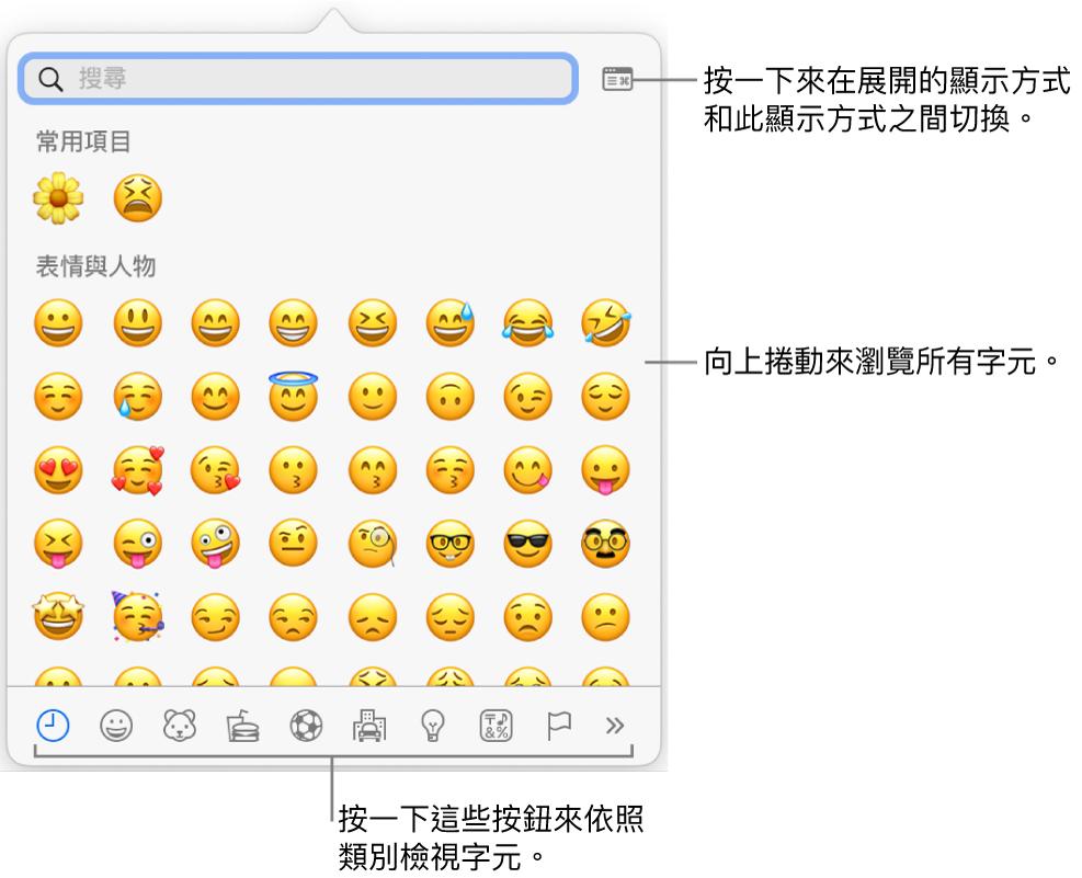 顯示表情符號的「特殊字元」彈出式選單,底部有各種符號的按鈕,説明文字指向顯示完整「字元」視窗的按鈕。