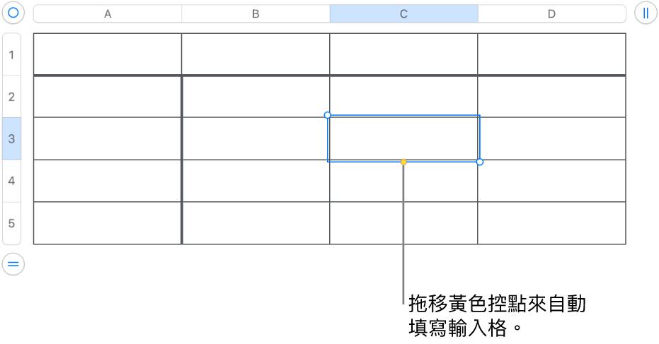 選取的輸入格帶有黃色控點,你可以拖移來自動填滿輸入格。