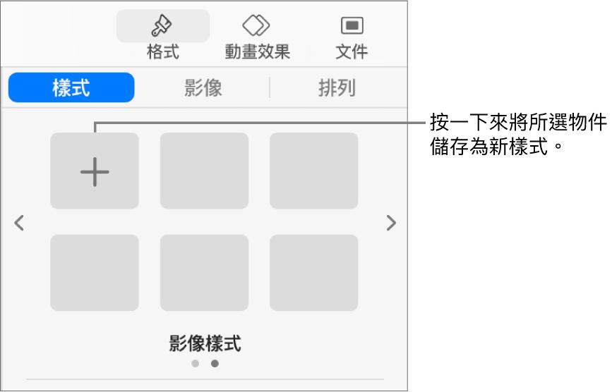 「格式」側邊欄的「樣式」分頁帶有一個文字框樣式,右側是「製作樣式」按鈕,以及四個空白的樣式暫存區。