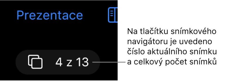 Tlačítko navigátoru snímků sčíslem 4 ze 13, umístěné pod tlačítkem Prezentace poblíž levého horního rohu plátna snímku