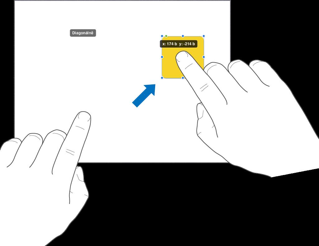 Jeden prst se dotýká vybraného objektu adruhý prst přejíždí směrem khornímu okraji obrazovky
