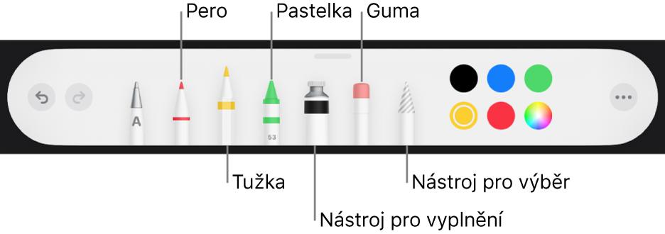 Panel nástrojů pro kreslení perem, tužkou, pastelem, nástrojem výplň, nástrojem pro výběr, gumou avýběrem barev zobrazujícím aktuální barvu