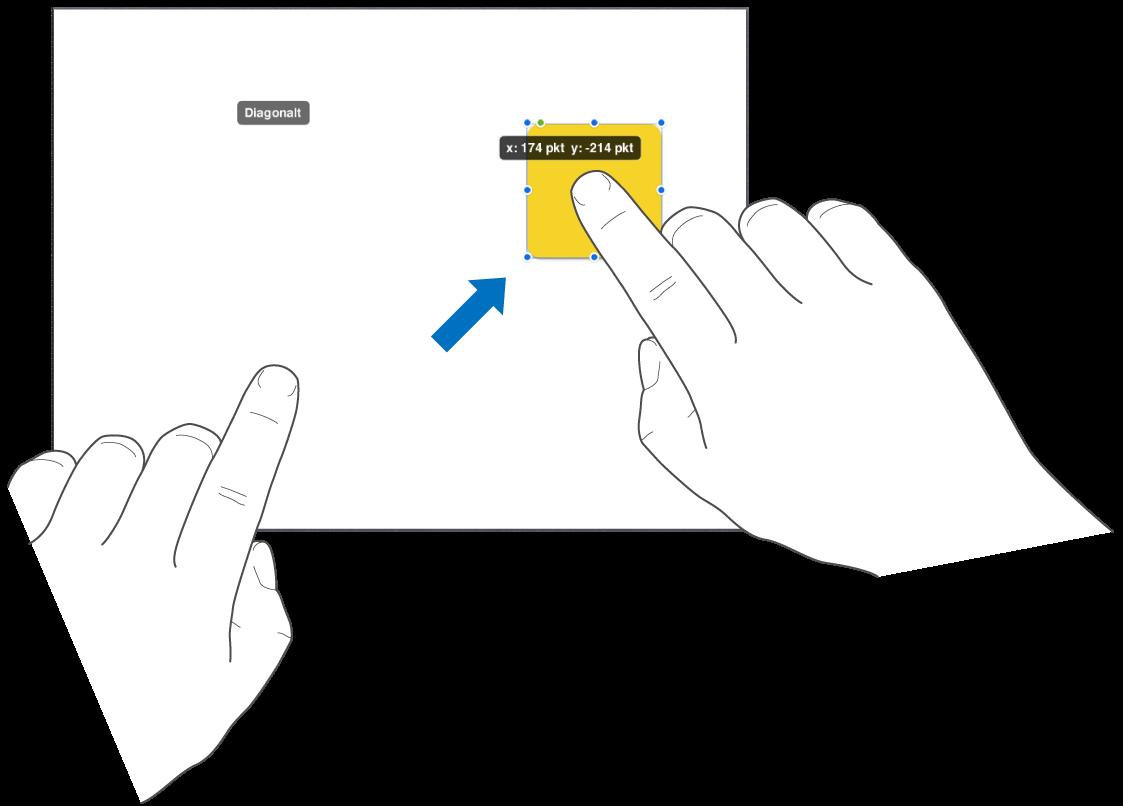 En finger, der vælger et objekt, og en anden finger, der skubber mod toppen af skærmen.