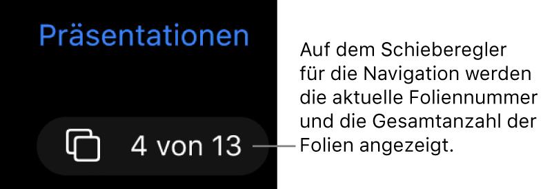 """Die Taste im Foliennavigator mit der Foliennummer """"4 (von 13)"""" befindet sich unter der Taste """"Präsentationen"""" in der oberen linken Ecke des Arbeitsbereichs."""