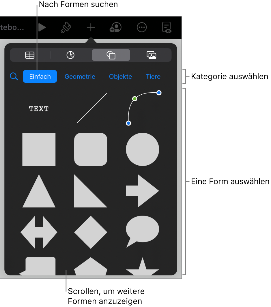 Die Formensammlung mit Kategorien oben und darunter angezeigten Formen. Du kannst das oben angezeigte Suchfeld verwenden, um Formen zu finden. Durch Streichen kannst du weitere Formen anzeigen.