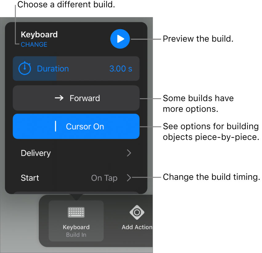 Build options include Duration, Delivery and Start timing. Tap Change to choose a different build or tap Preview to preview the build.