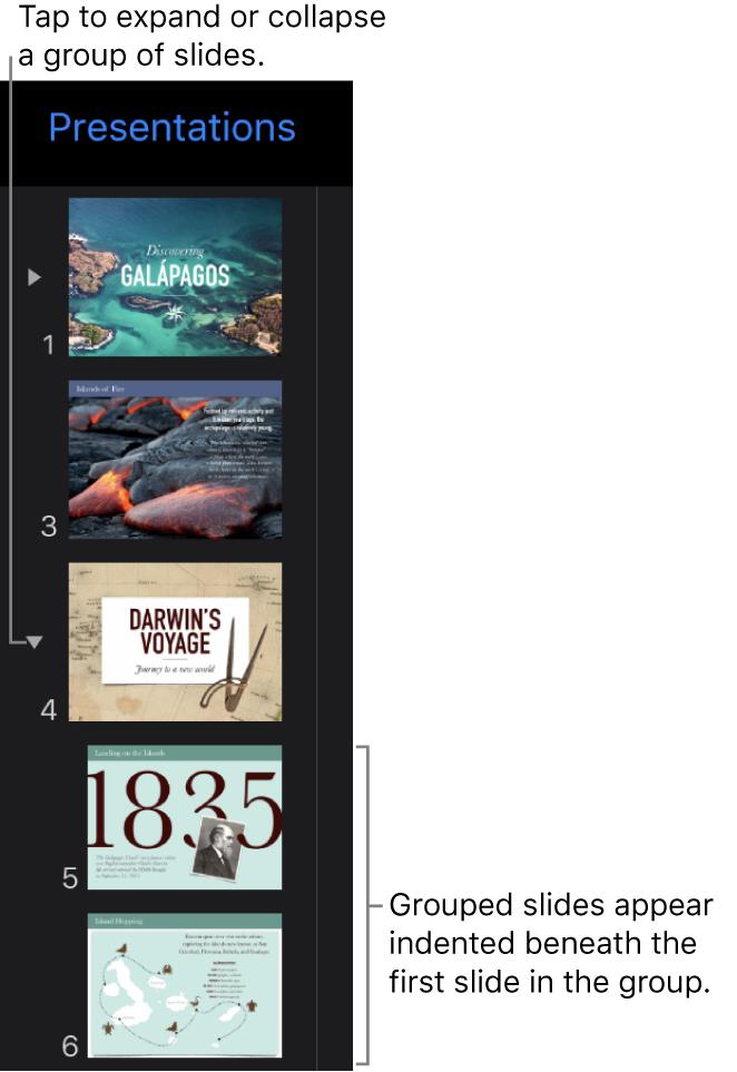 Slide navigator showing indented slides.