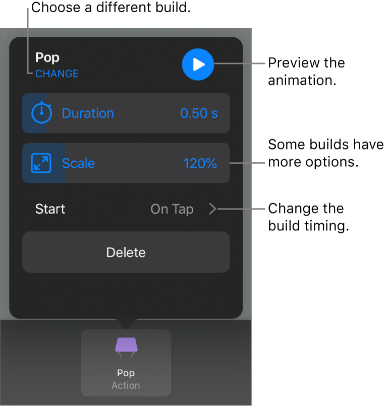 Build options include Duration and Start timing. Tap Change to choose a different build, or tap Preview to preview the build.