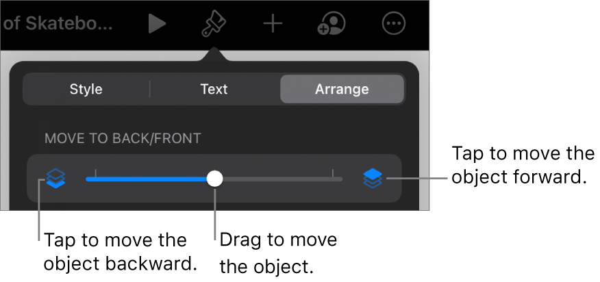 The Move Backward button, the Move Forward button, and the layering slider.