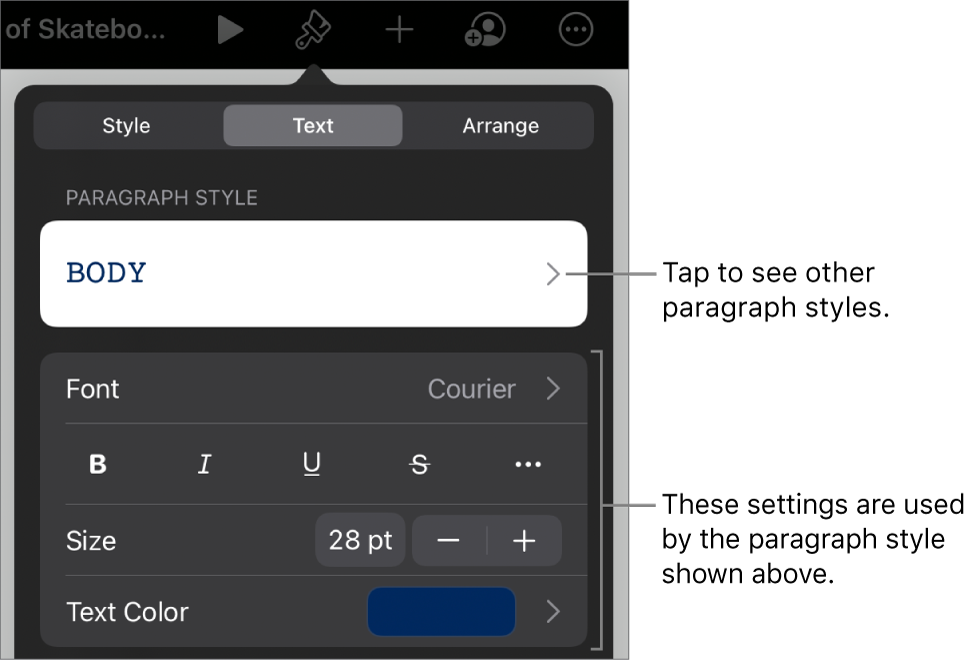 The Format menu showing text controls for setting paragraph and character styles, font, size, and color.