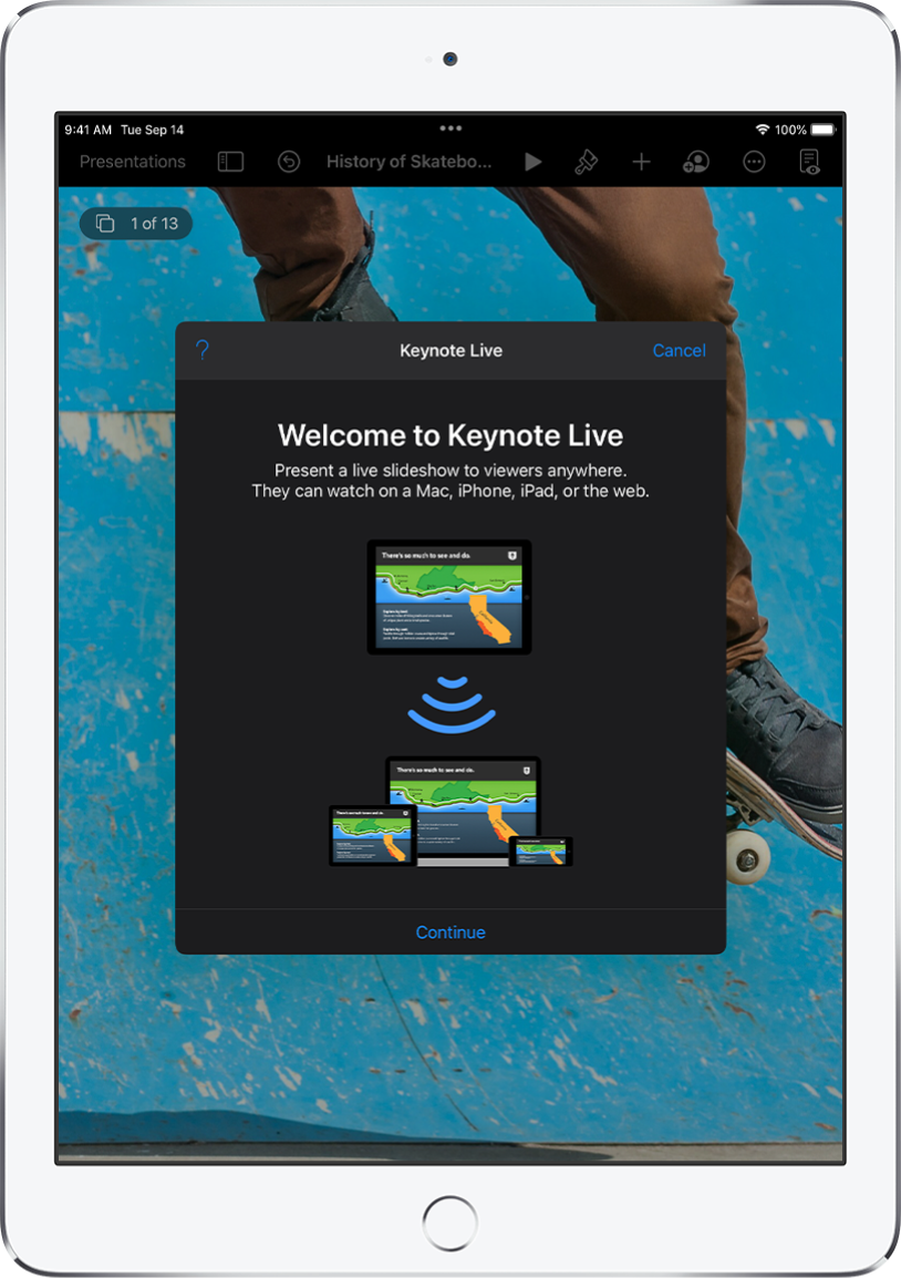 A window introducing Keynote Live with the Continue button at the bottom.