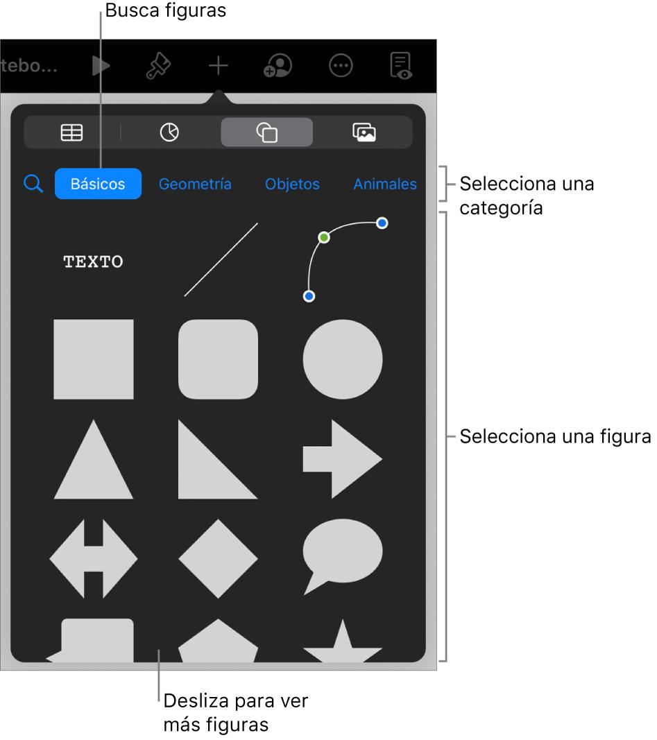 La biblioteca de figuras, con las categorías en la parte superior y las figuras mostradas abajo. Puedes usar el campo de búsqueda de la parte superior para buscar figuras o deslizar para ver más.