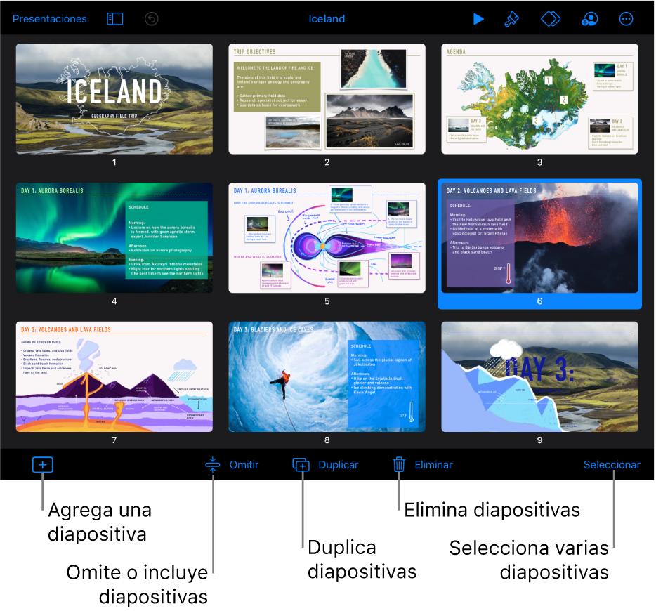 Vista de minipanorama con botones en la parte inferior de la pantalla para agregar, omitir, duplicar y eliminar diapositivas, y para seleccionar varias diapositivas.