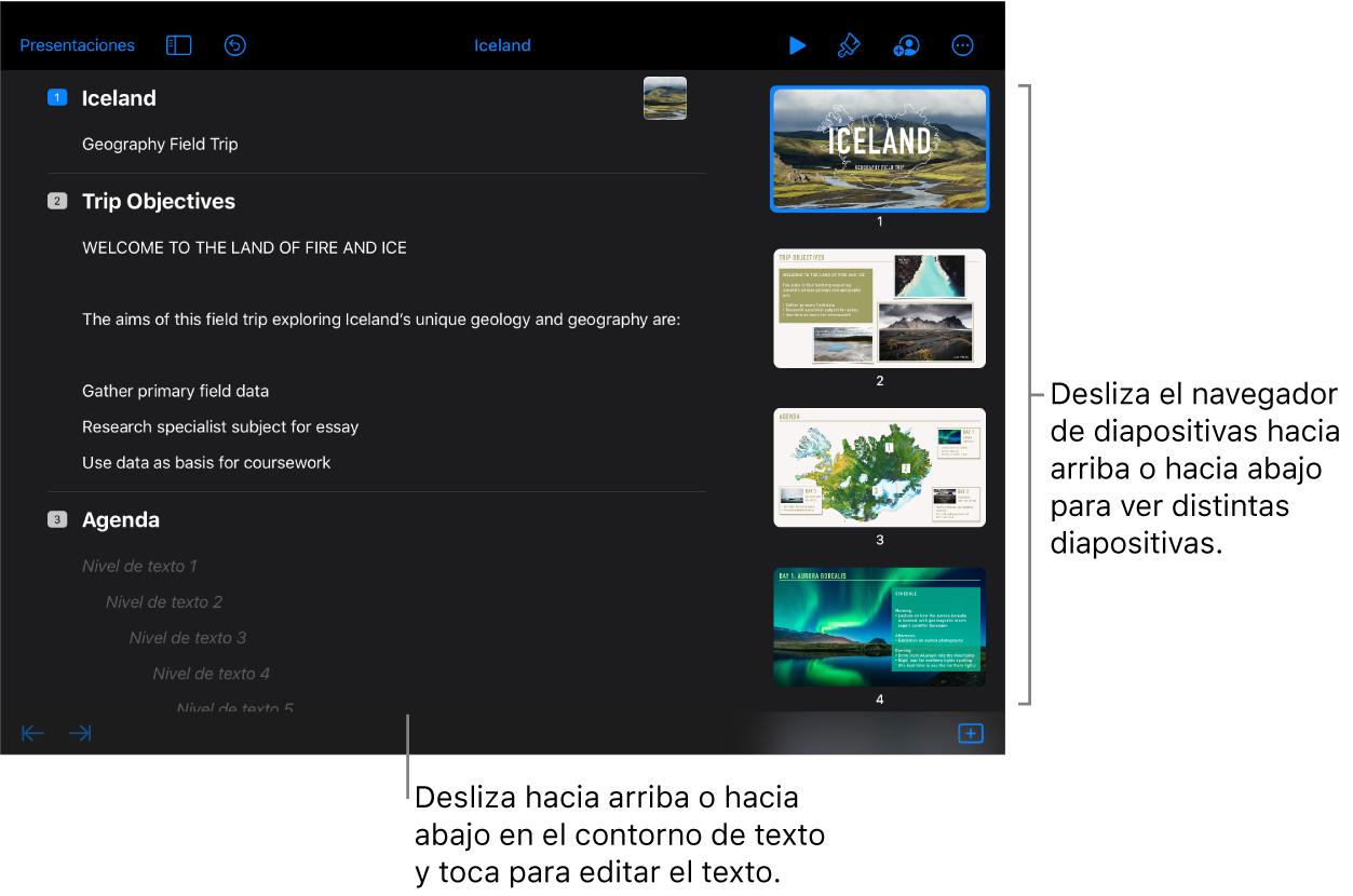 La vista de esquema con un esquema de texto de una presentación en el lado izquierdo de la pantalla y el navegador de diapositivas vertical en el lado derecho.