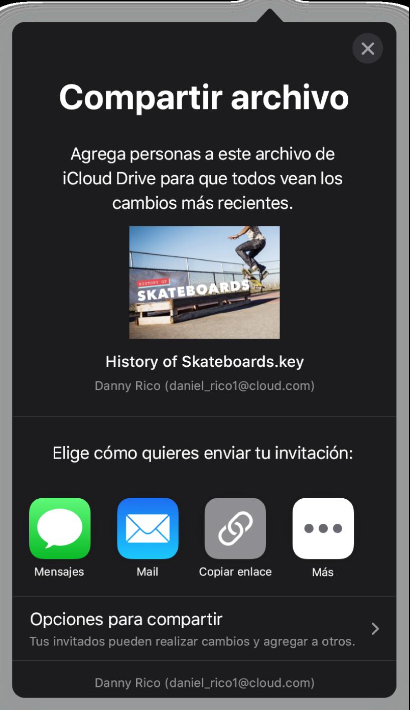 """La pantalla """"Agregar personas"""" mostrando una imagen de la presentación que se va a compartir. Debajo hay botones con las maneras en que se puede enviar la invitación; incluyendo Correo, """"Copiar enlace"""" y más. En la parte inferior se encuentra el botón """"Opciones para compartir""""."""