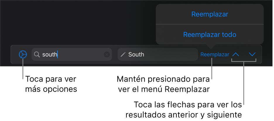 Controles para buscar y reemplazar texto.