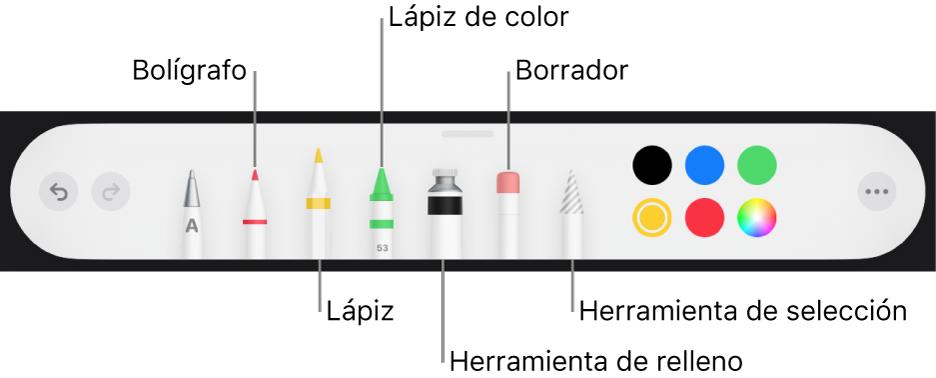 La barra de herramientas de dibujo con un bolígrafo, lápiz, lápiz de color, relleno, borrador, herramienta de selección y paleta de colores, que muestra el color actual.