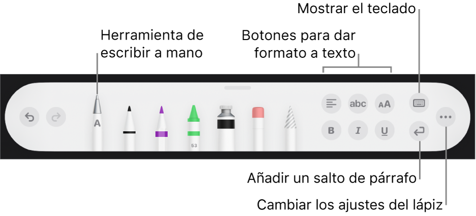 """La barra de herramientas de escribir y dibujar con la herramienta """"A mano"""" a la izquierda. A la derecha se encuentran los botones para aplicar formato al texto, mostrar el teclado, añadir un salto de párrafo y abrir el menú Más."""