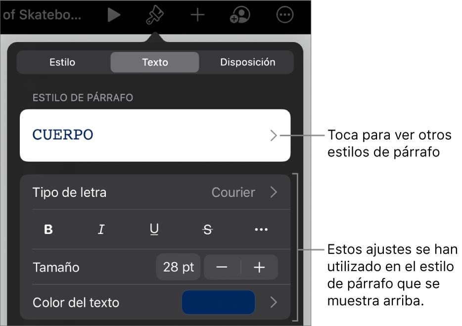 El menú Formato, que muestra controles de texto para configurar los estilos de párrafo y carácter, tipo de letra, tamaño y color.