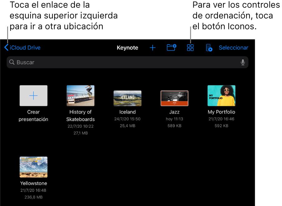 """La vista de exploración del gestor de presentaciones con un enlace de ubicación en la esquina superior izquierda y, debajo, un campo de búsqueda. En una fila debajo de Buscar se encuentra un botón que permite añadir una carpeta; botones para ordenar por nombre, fecha, tamaño, tipo o etiquetas; y un botón para cambiar entre las vistas de icono y de lista. Debajo de ellos está un botón """"Crear presentación"""" junto a miniaturas de las presentaciones existentes. En la parte inferior de la pantalla se encuentran los botones Recientes y Explorar."""