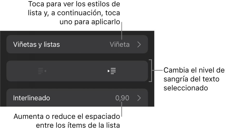 """La sección """"Viñetas/listas"""" de los controles de formato con llamadas a """"Viñetas/listas"""", los botones de sangría o de sangría izquierda, y los controles de interlineado."""