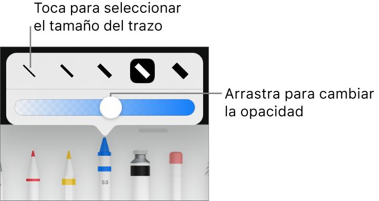 Controles para seleccionar un tamaño de trazo y un regulador para ajustar la opacidad.