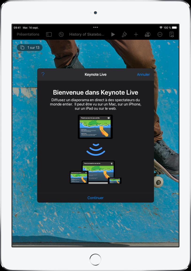 Fenêtre présentant KeynoteLive avec le bouton Continuer au bas de l'écran.