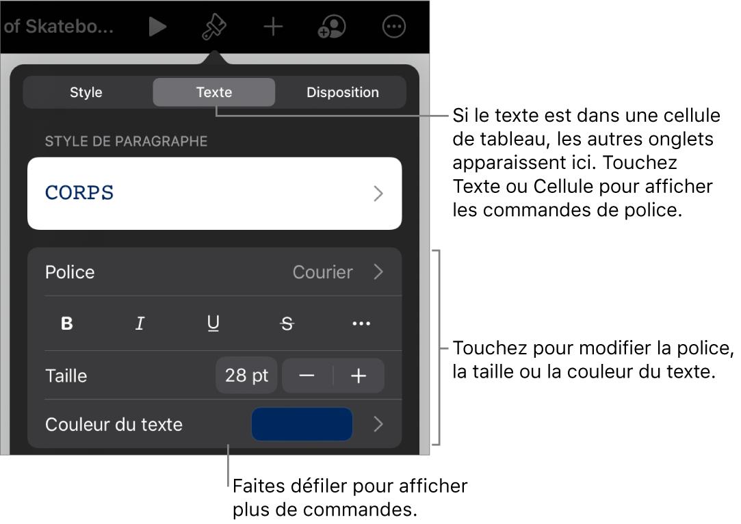 Commandes de texte du menu Format permettant de définir les styles, la police, la taille et la couleur des paragraphes et des caractères.