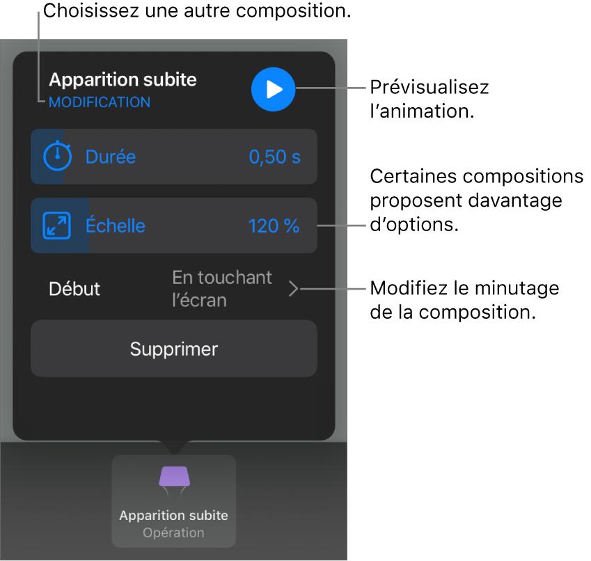 Les options de composition comprennent les options de minutage Durée et Début. Touchez Modifier pour sélectionner une autre composition ou touchez Aperçu pour afficher un aperçu de la composition.